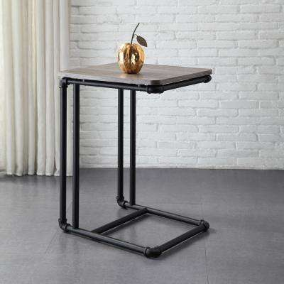 Manchester Industrial Gray and Black Industrial Pipe Side Table