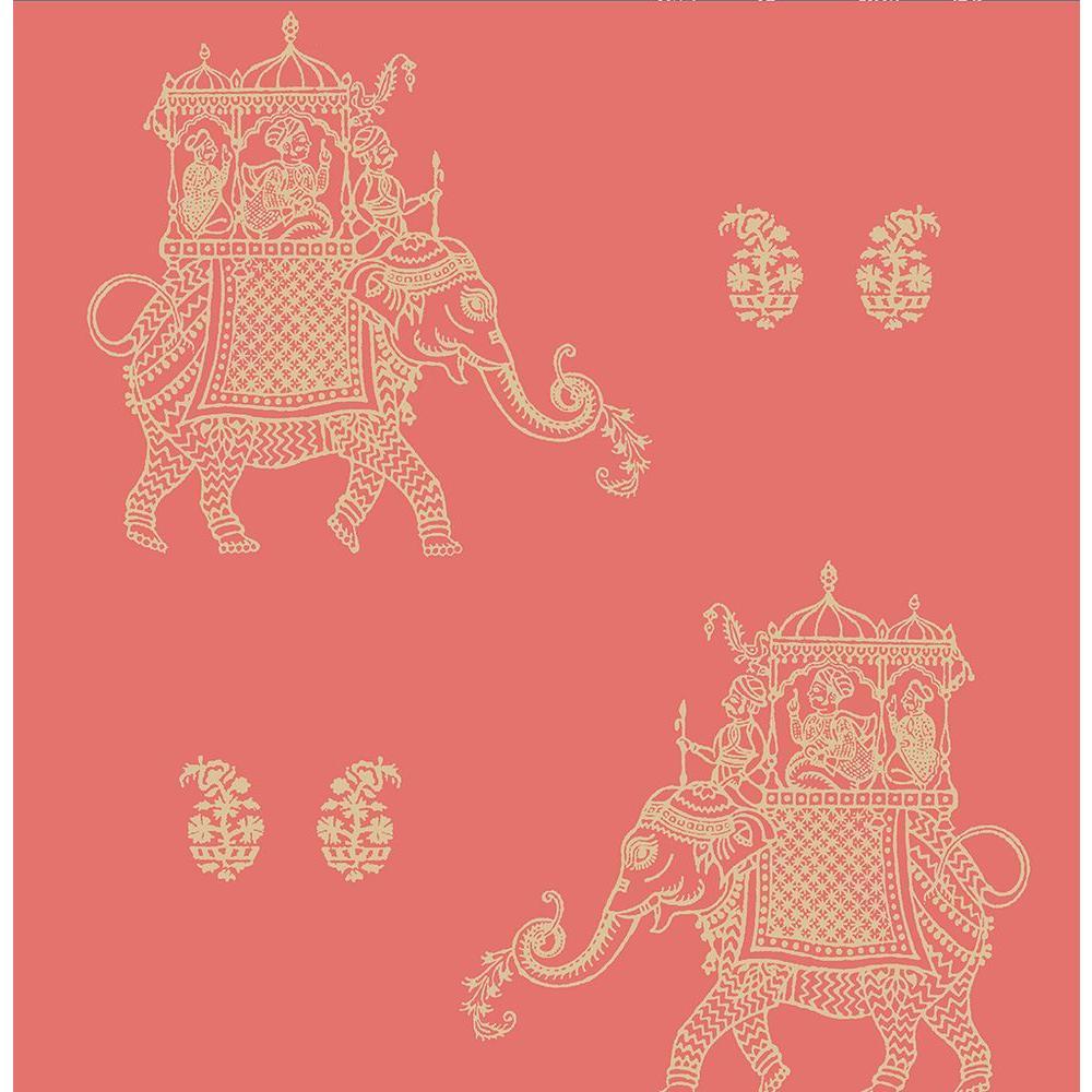 Ophelia Coral Elephant Wallpaper