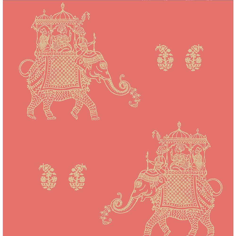 Ophelia Coral Elephant Wallpaper Sample