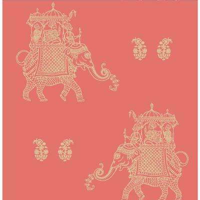 Ophelia Coral Elephant Coral Wallpaper Sample