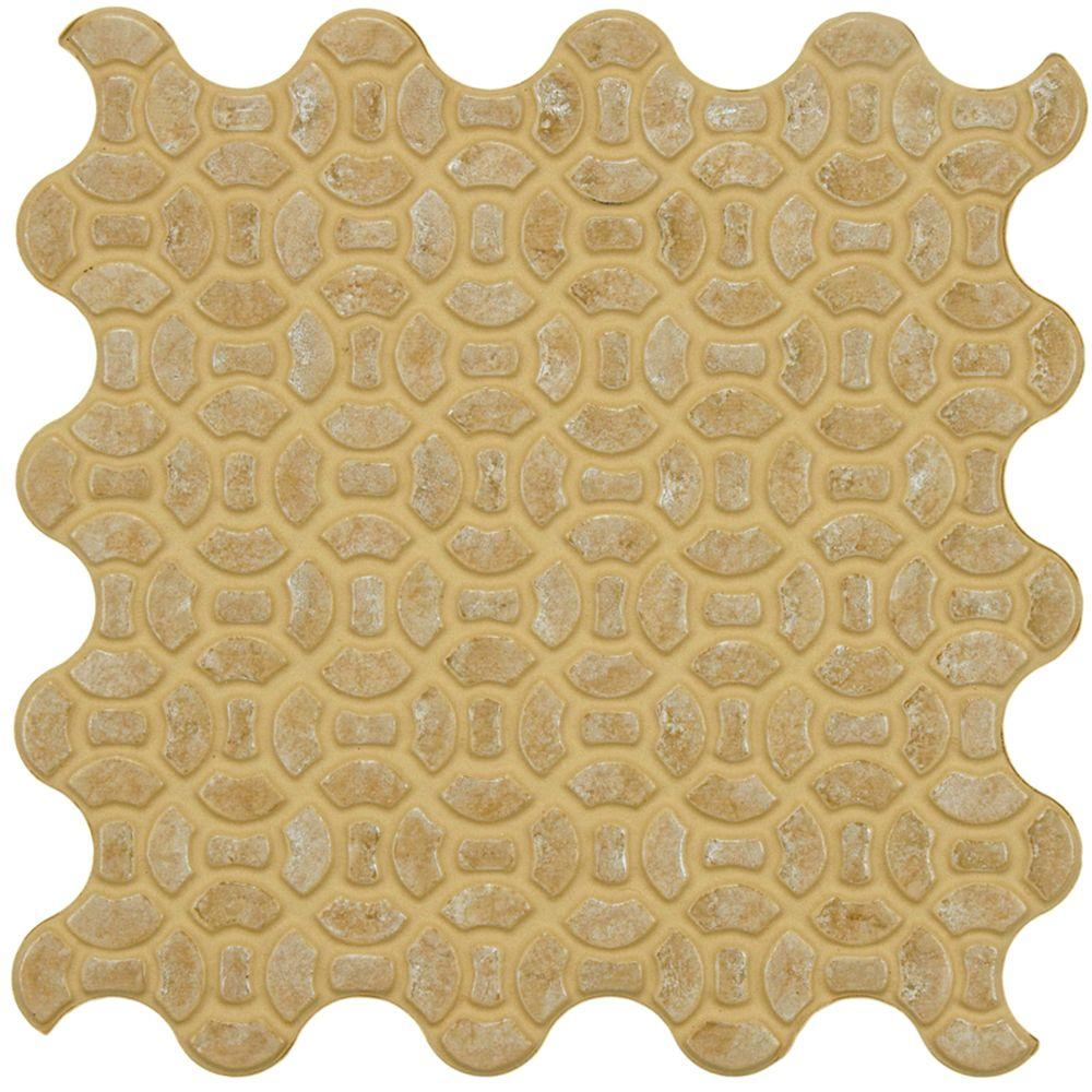 Merola Tile Maglia Beige 9-3/4 in. x 9-3/4 in. Porcelain Floor and Wall Tile