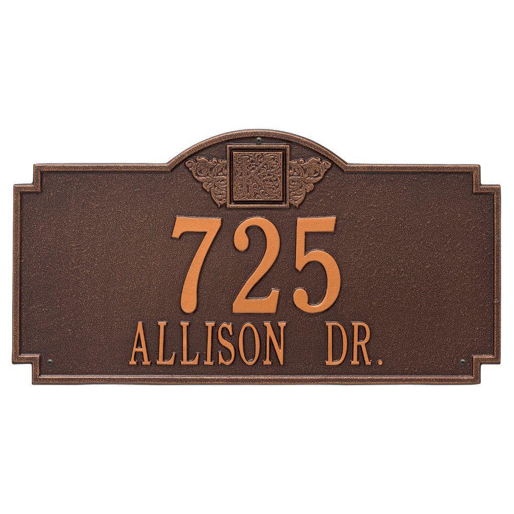 Monogram Estate Rectangular Antique Copper Wall 2-Line Address Plaque