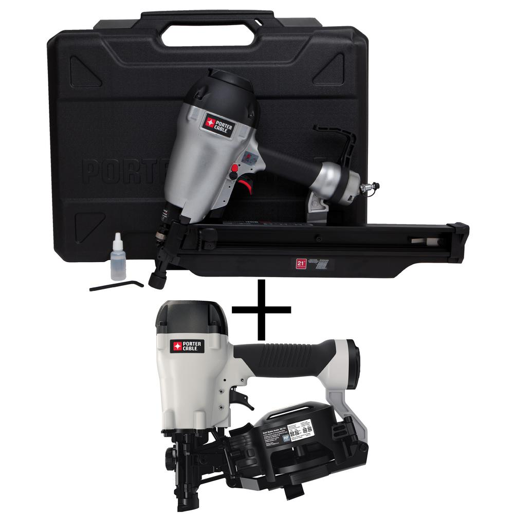 21-Degree 3-1/2 in. Full Round Framing Nailer with Bonus Pneumatic 15-Degree