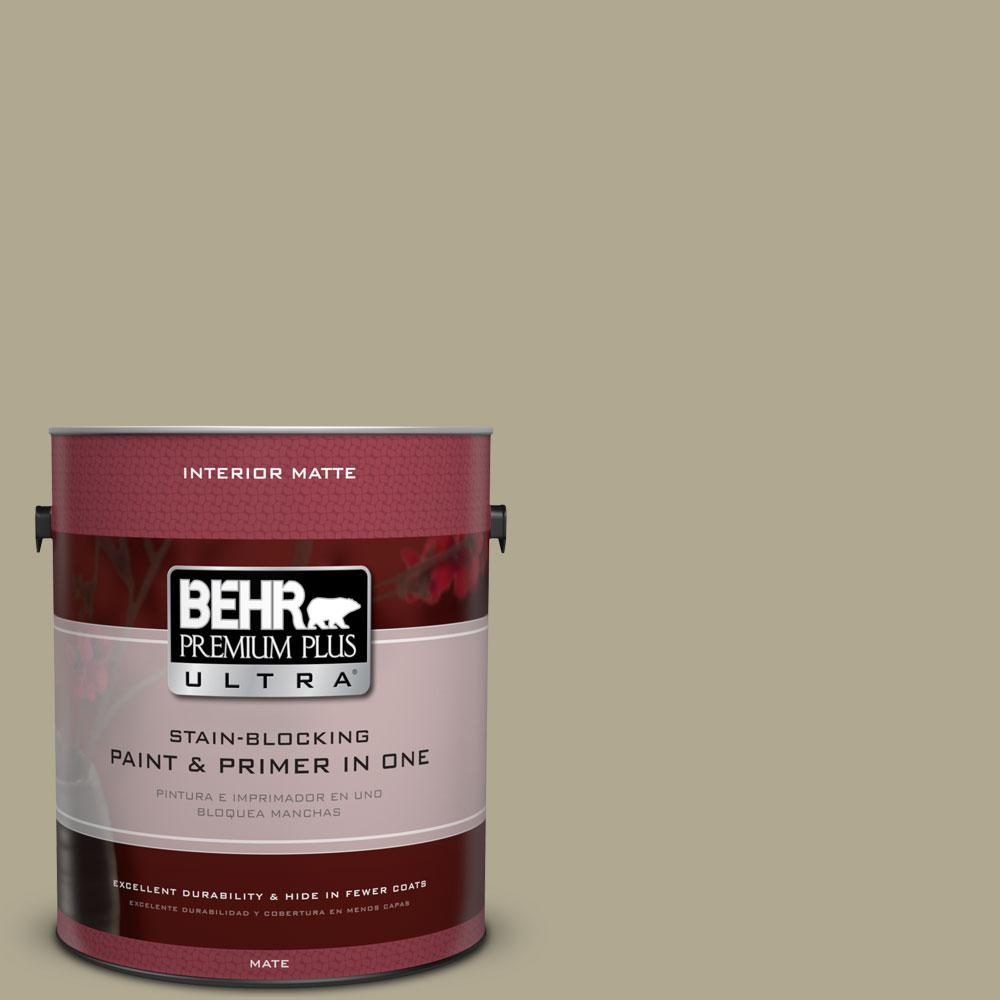 BEHR Premium Plus Ultra 1 gal. #BXC-22 Field Khaki Matte Interior Paint