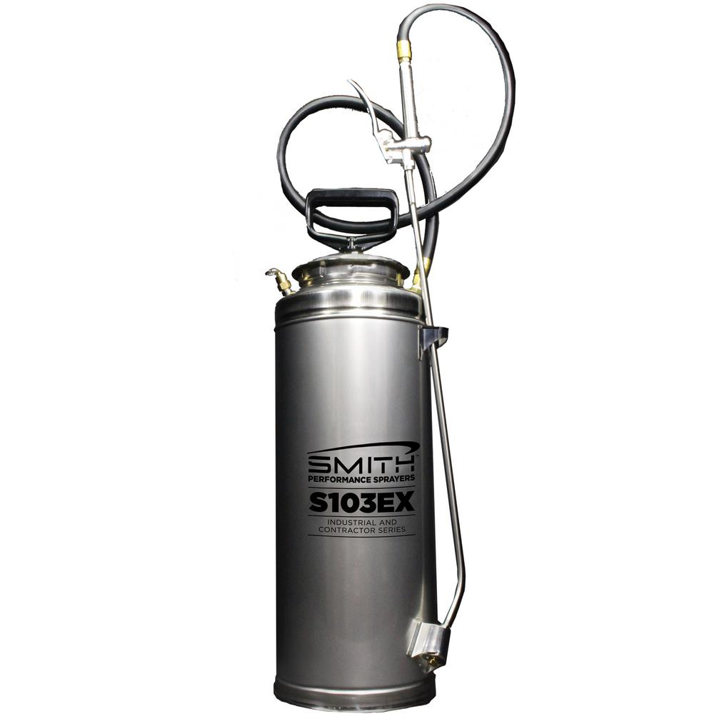 Smith Performance Sprayers 3 5 Gal Stainless Steel Concrete Compression Sprayer S103ex With Viton Extreme Seals 190468 The Home Depot