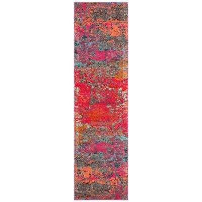 Monaco Fuchsia/Blue 2 ft. 2 in. x 8 ft. Runner Rug