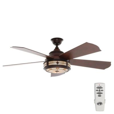 Savona 52 in. Indoor Weathered Bronze Ceiling Fan with Light Kit and Remote Control