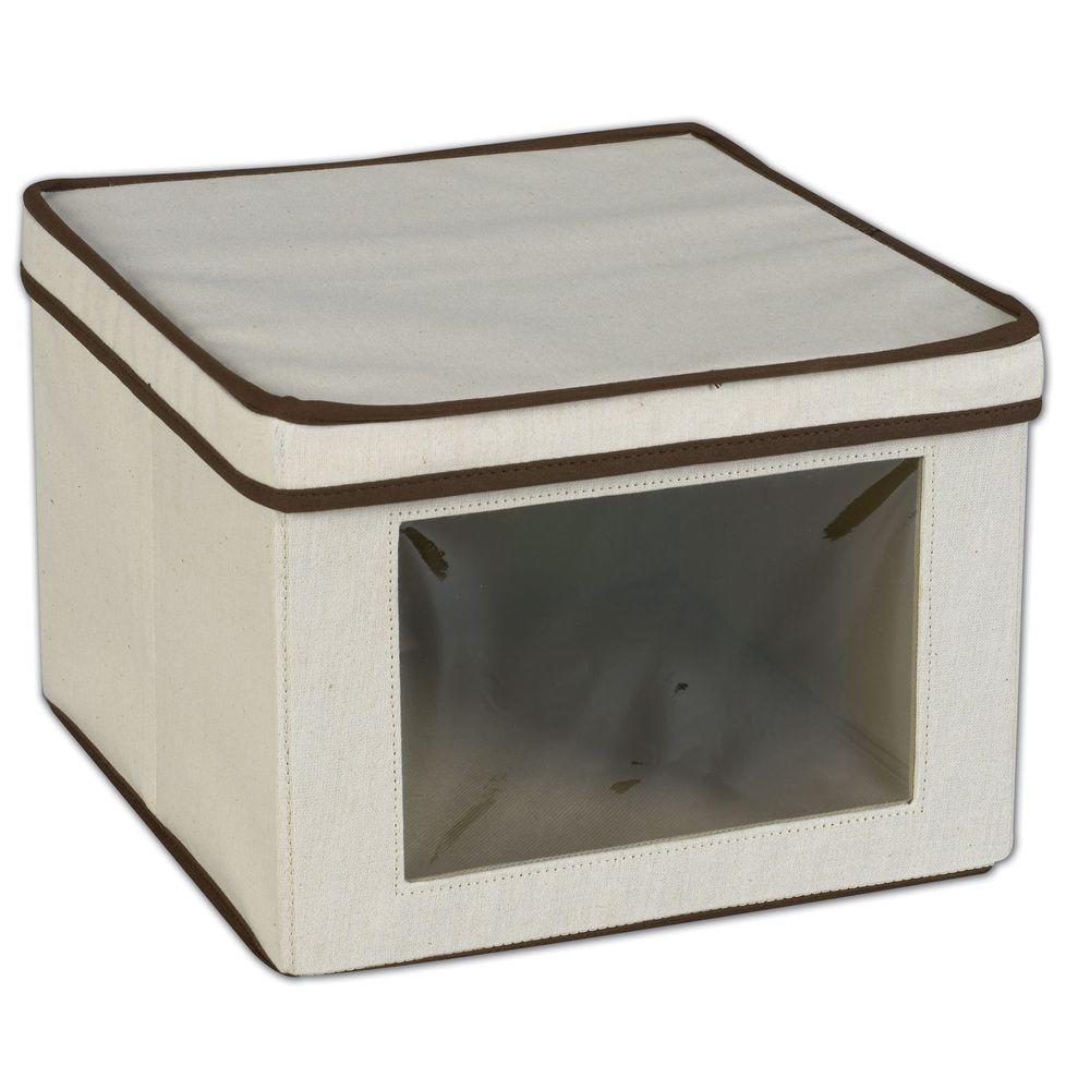 Household Essentials 12.25 in. x 13.25 in. Natural Canvas Medium Box with Liner and Brown Trim