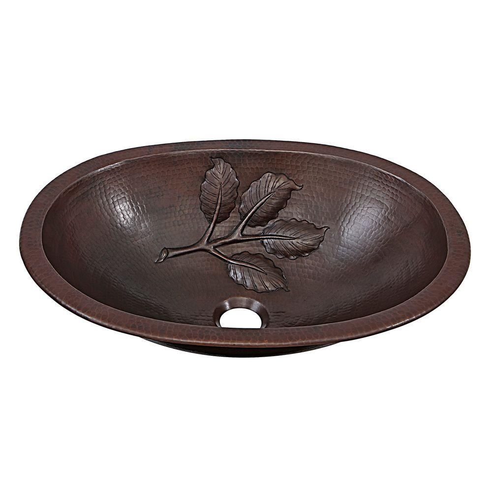 SINKOLOGY Franklin Leaf Custom Made Dual Mount Handmade Pure Solid Copper Bathroom Sink with Bowl Design in Aged Copper