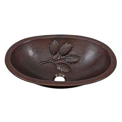 Franklin Leaf Custom Made Dual Mount Handmade Pure Solid Copper Bathroom Sink with Bowl Design in Aged Copper