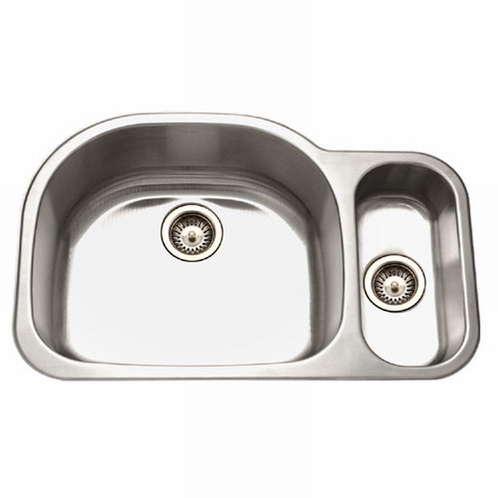 Medallion Series Undermount Stainless Steel 32 in. Double Basin Kitchen Sink