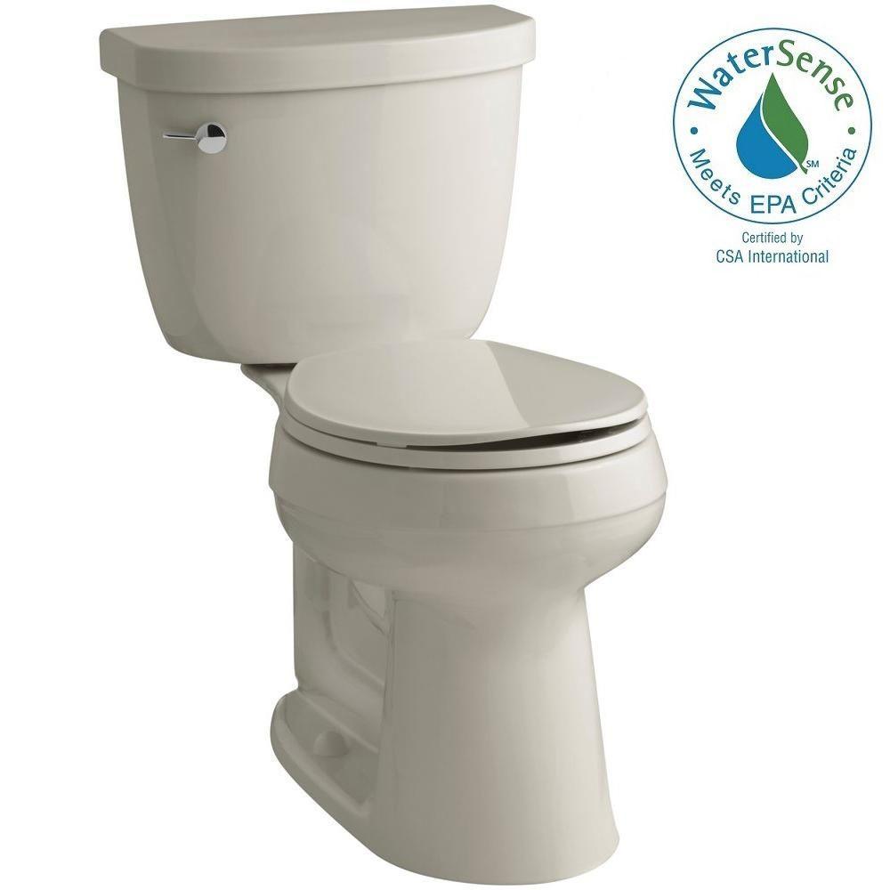 KOHLER Cimarron Comfort Height 2-piece 1.28 GPF Round Toilet with AquaPiston Flush Technology in Sandbar