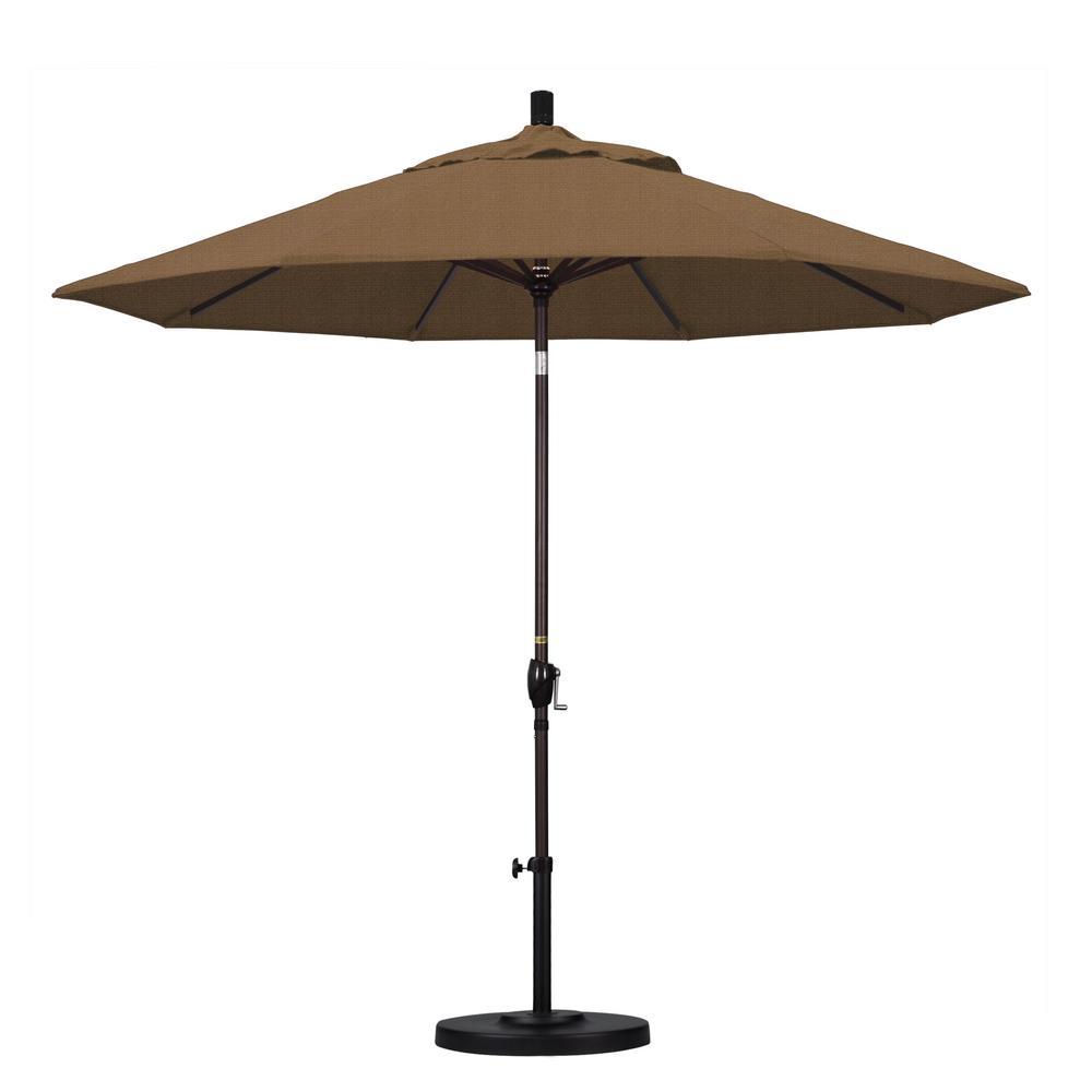 9 ft. Aluminum Push Tilt Patio Umbrella in Sesame Olefin