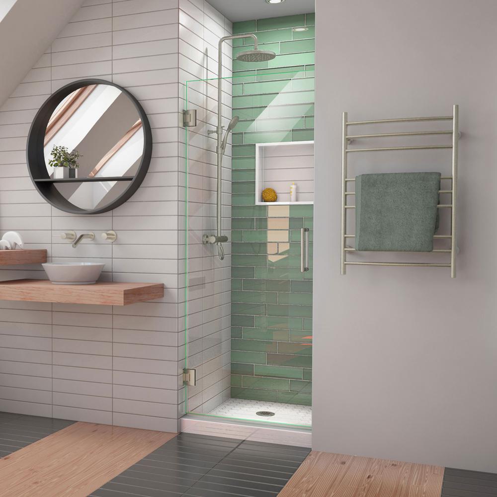 Unidoor-LS 27 in. W x 72 in. H Frameless Hinged Shower Door in Brushed Nickel