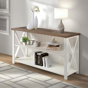 30 in. White/Reclaimed BarnWood Wood 2-shelf Accent Bookcase