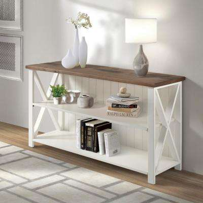 52 in. White/Reclaimed Barnwood Solid Wood Farmhouse 2-Shelf Bookcase
