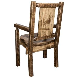Homestead Collection Early American Laser Engraved Elk Motif Captains Chair