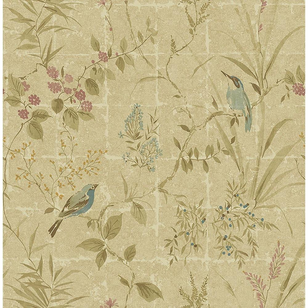 Beacon House Imperial Neutral Garden Chinoiserie Wallpaper Sample