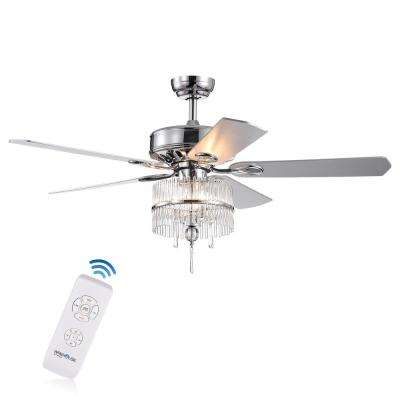 Wyllow DeBase 52 in. Chrome Crystal Flutes Shade Ceiling Fan with Light Kit and Remote Control