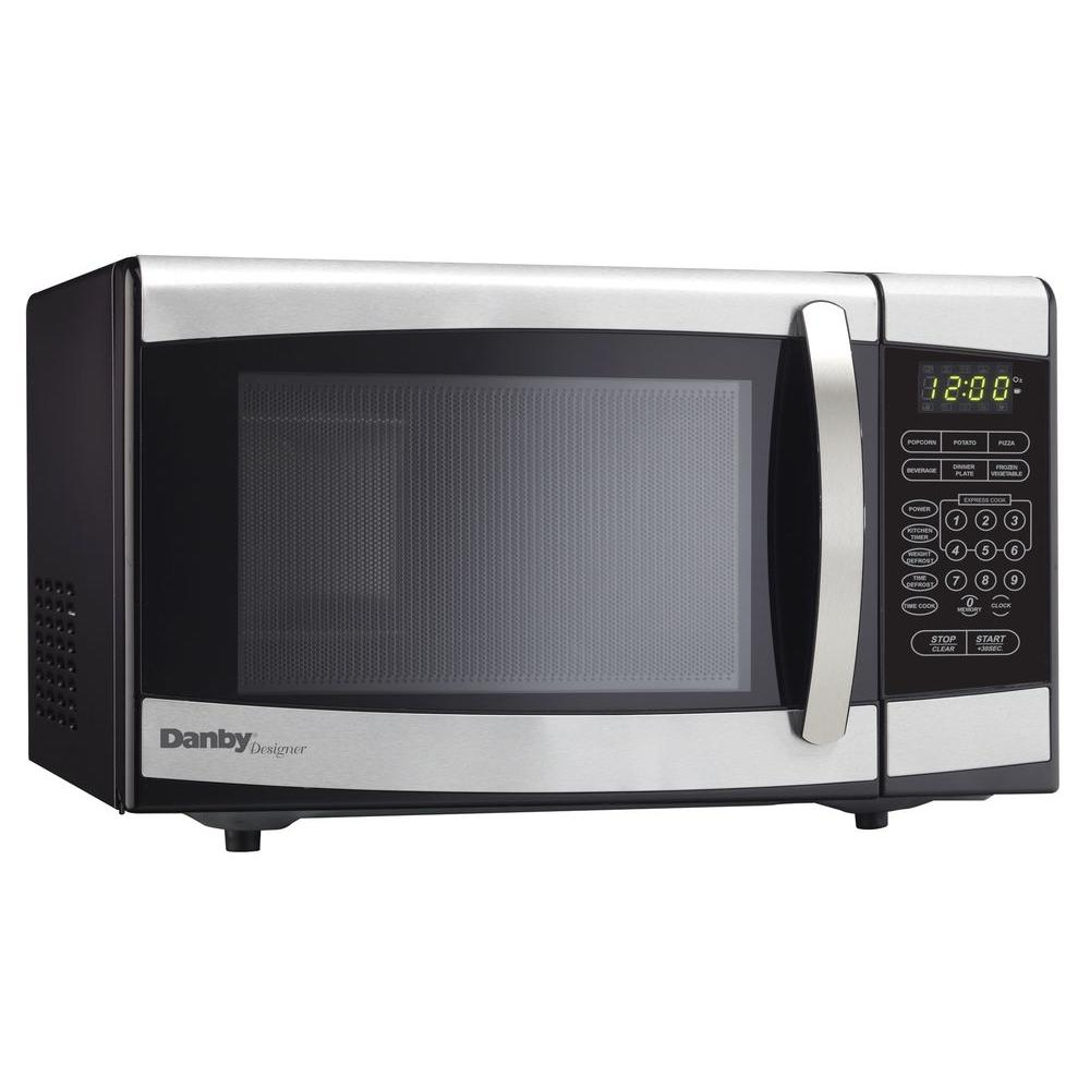 Danby 0 7 Cu Ft Countertop Microwave In Stainless Steel Dmw077bd The Home Depot