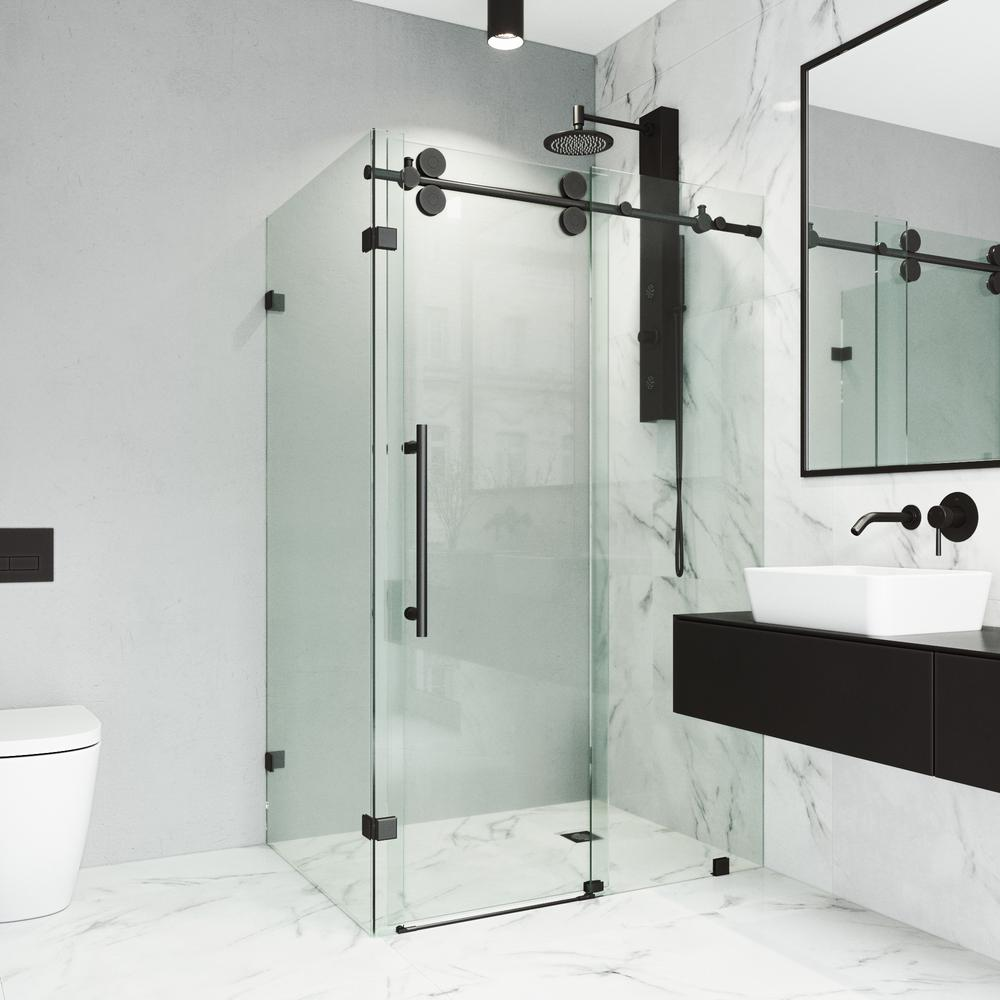 Vigo 34 In X 74 In Frameless Corner Sliding Shower Door