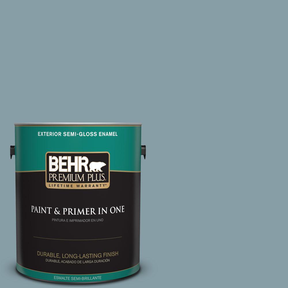 1-gal. #BNC-18 Aqua Gray Semi-Gloss Enamel Exterior Paint
