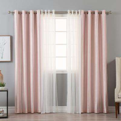 L Umixm Tulle And Light Pink Faux Silk Blackout Curtain 4