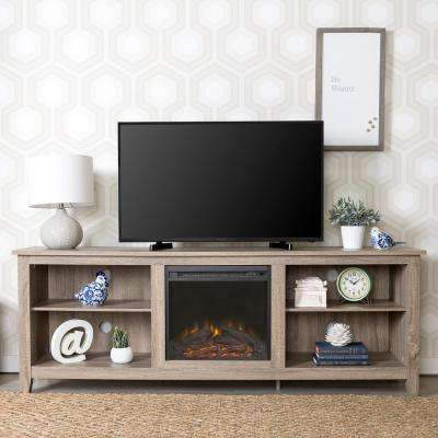 Essentials Driftwood Fire Place Entertainment Center