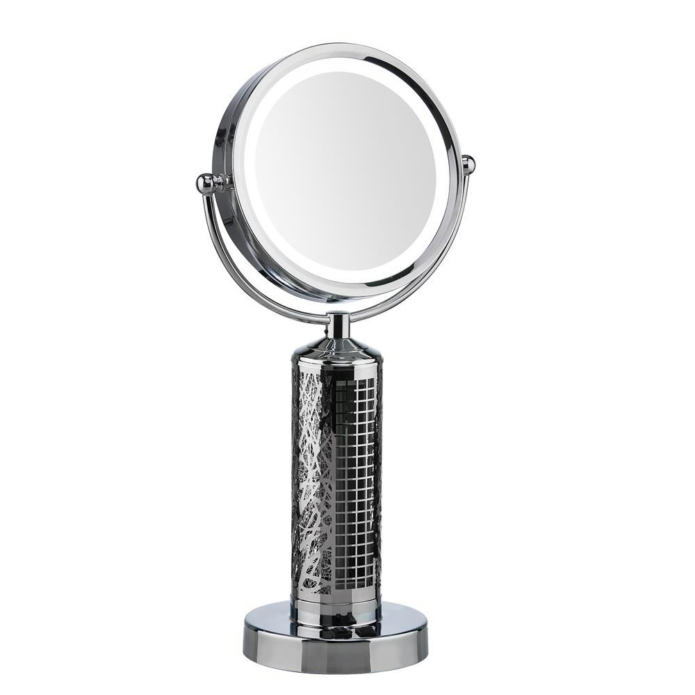 Designer Aire Fanity 10.5 in. 2-Speed LED 10X Magnification Vanity Mirror and Tower Fan