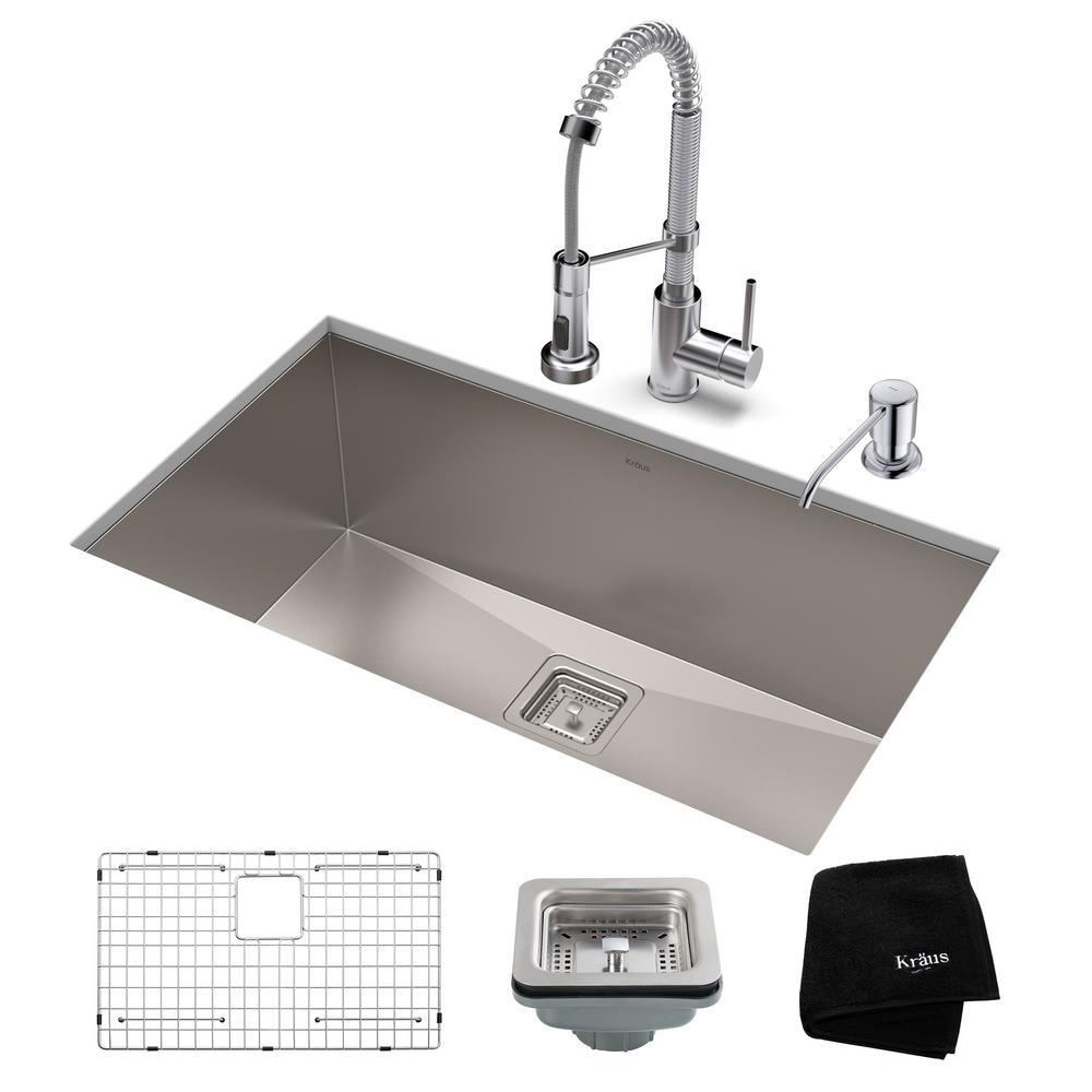 kraus pax all in one undermount stainless steel 28 in single bowl rh homedepot com chrome kitchen sink sprayer chrome kitchen sink faucet with pull-out sprayer