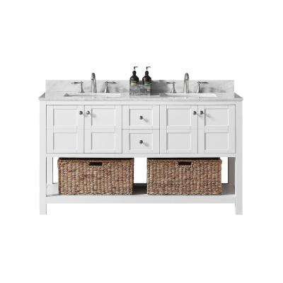 Makena 60 in. W x 22 in. D x 34.2 in. H Bath Vanity in White with Carrara Marble Vanity Top in White with White Basin