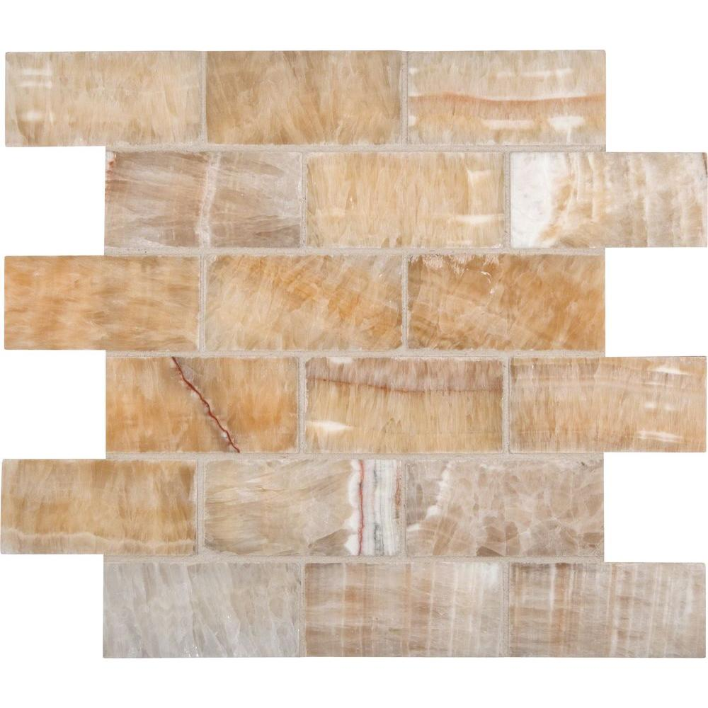 Kitchen Backsplash Tile At Home Depot: Honey 12 In. X 12 In. X 10 Mm Polished Onyx Subway Mesh