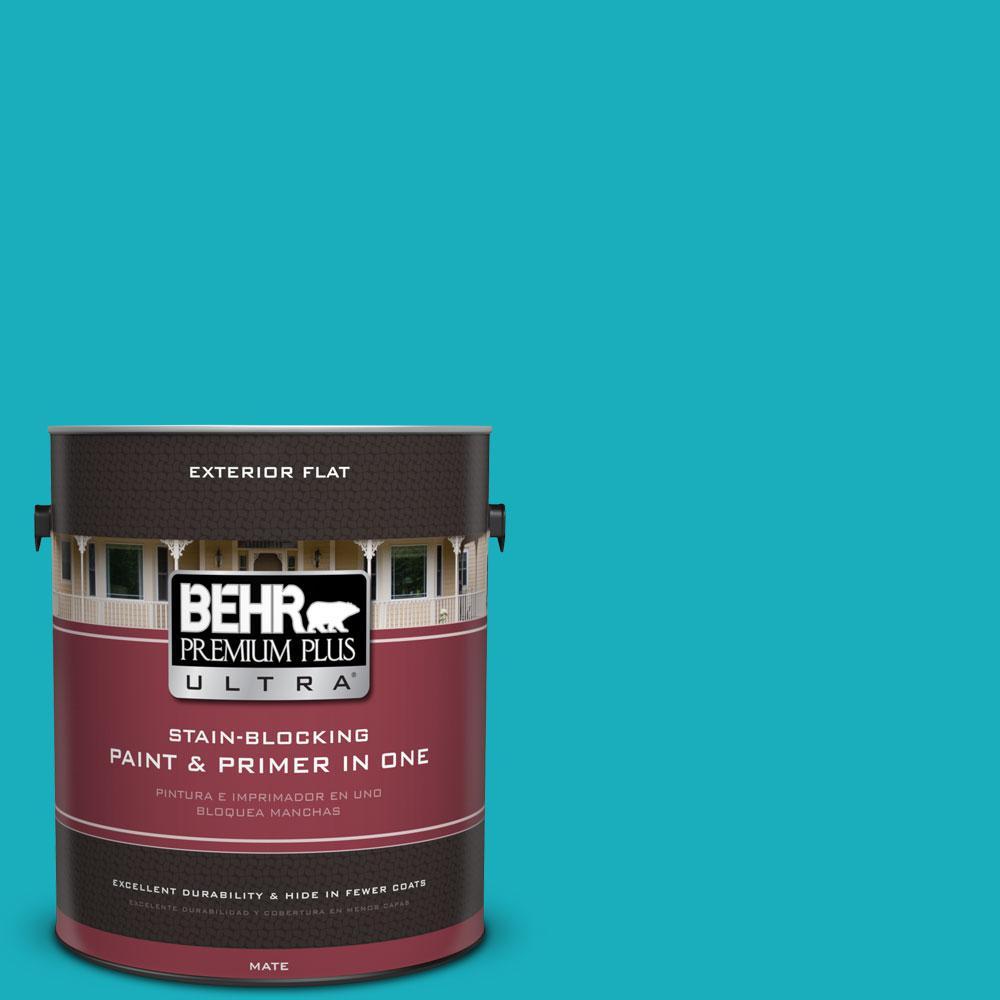 BEHR Premium Plus Ultra 1-gal. #P470-5 Placid Sea Flat Exterior Paint
