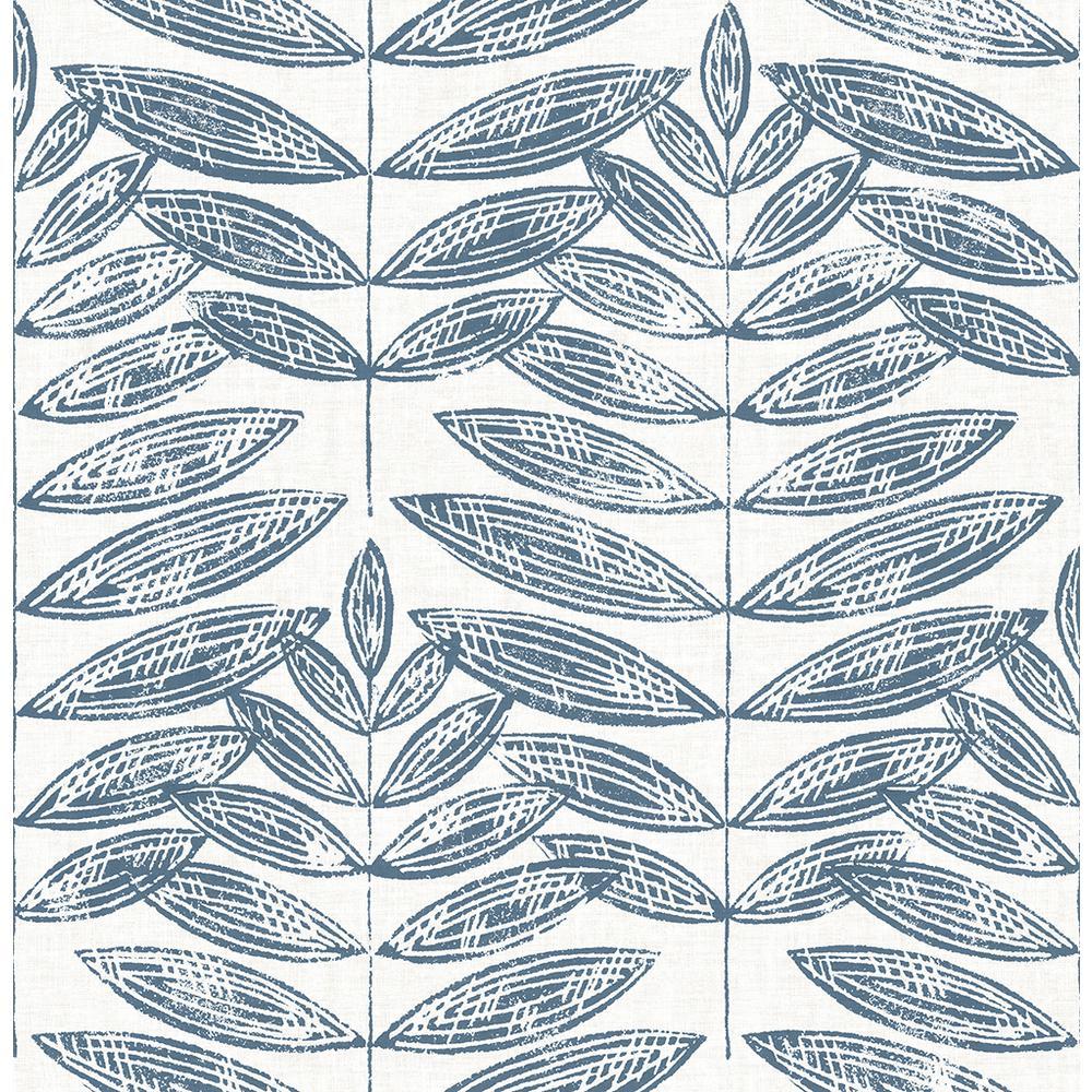 56.4 sq. ft. Akira Navy Leaf Wallpaper