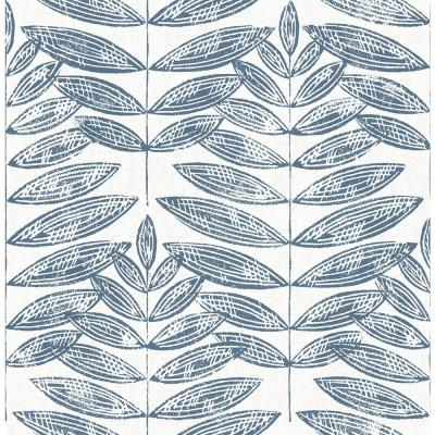 Akira Navy Leaf Paper Strippable Roll (Covers 56.4 sq. ft.)