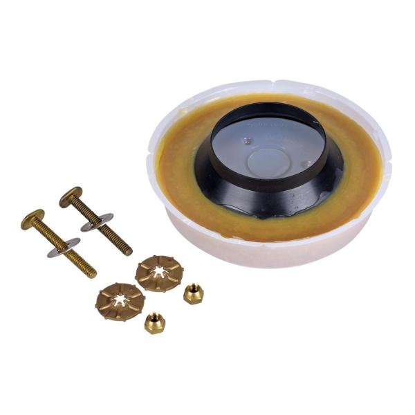 Johni-Ring 3 in. - 4 in. Standard Toilet Wax Ring with Plastic Horn and Johni-Quick Brass Toilet Bolts