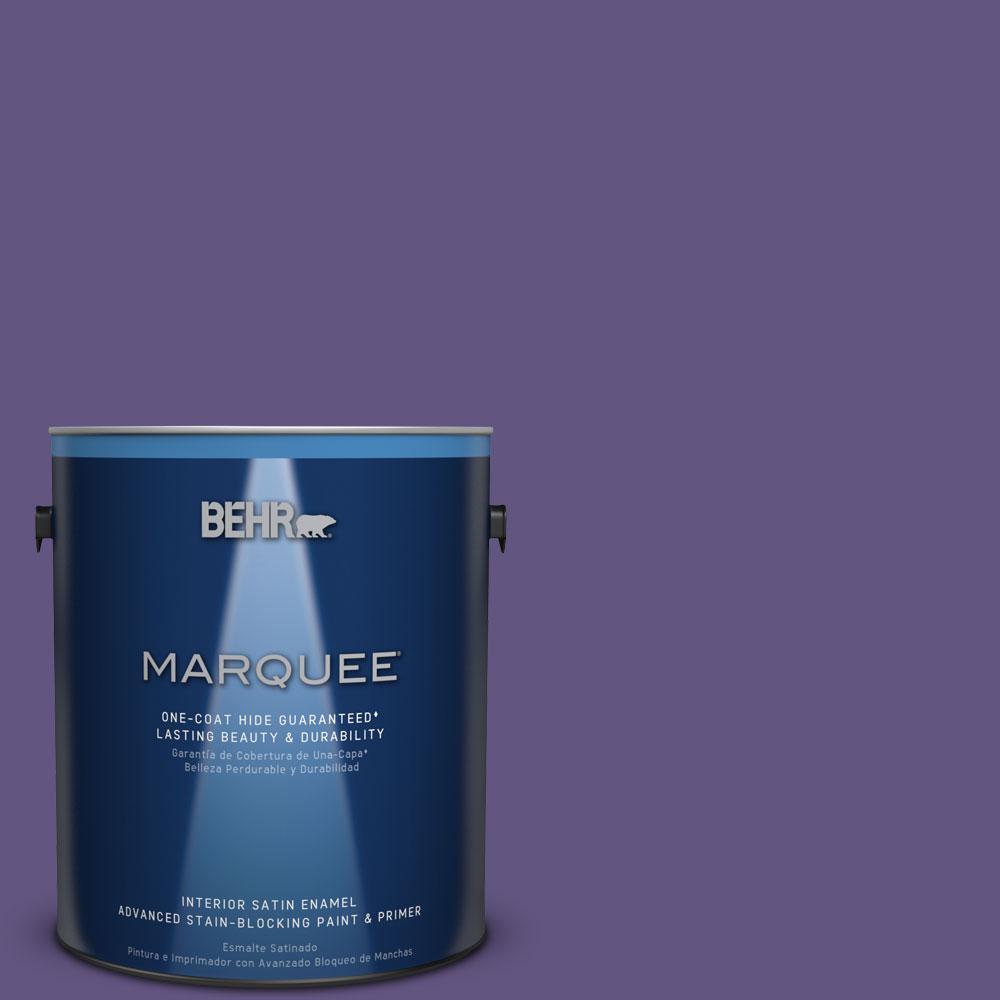 1 gal. #MQ4-28 Purple Sky One-Coat Hide Satin Enamel Interior Paint