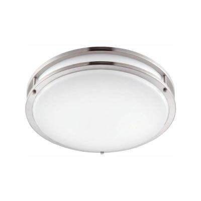 14 in. Brushed Nickel/White LED Ceiling Low-Profile Flush Mount