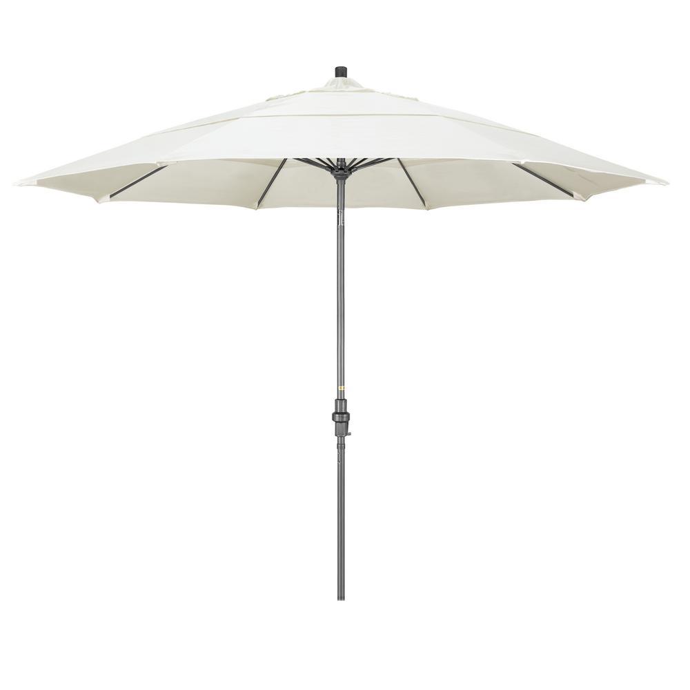 de34389d0f8f California Umbrella 11 ft. Hammertone Grey Aluminum Market Patio Umbrella  with Collar Tilt Crank Lift in Canvas Sunbrella