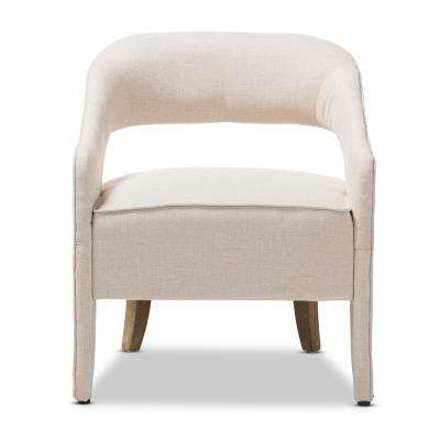 Floriane Beige Fabric Upholstered Lounge Chair