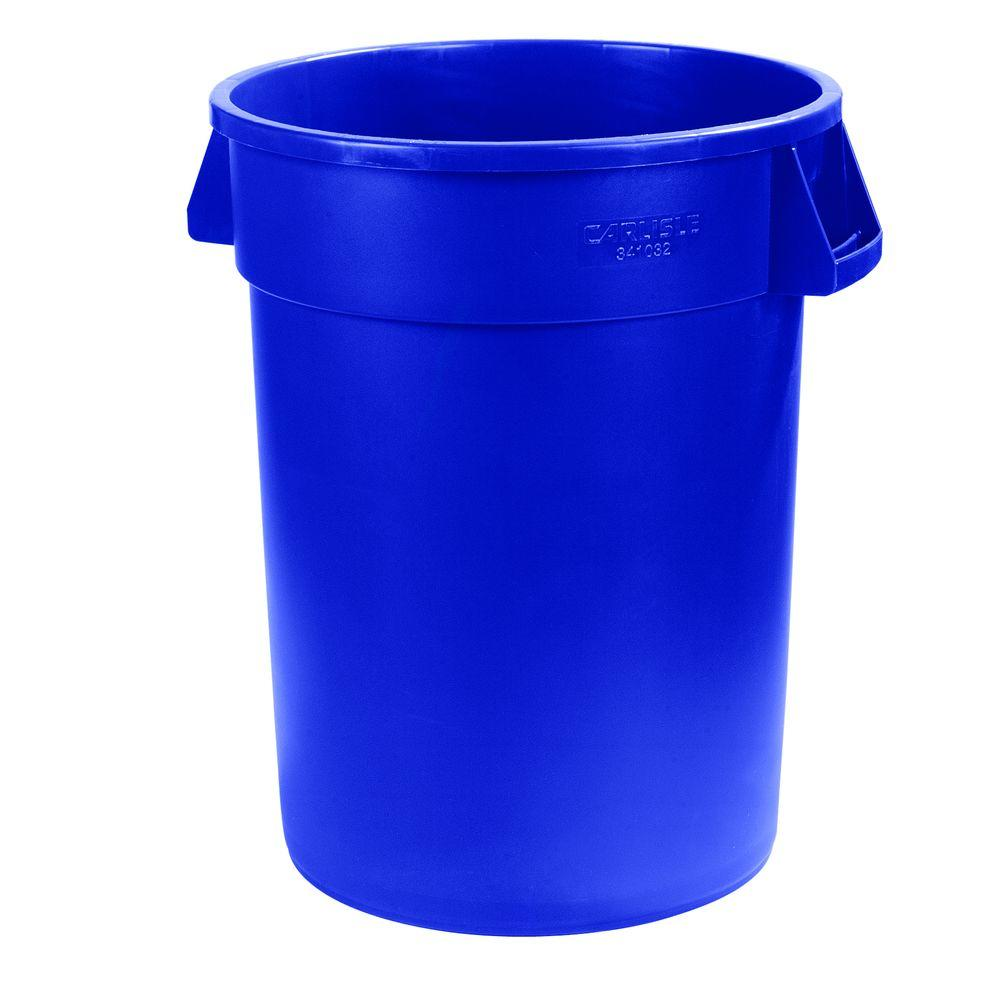 Carlisle Bronco 20 Gal. Blue Round Trash Can (6-Pack)