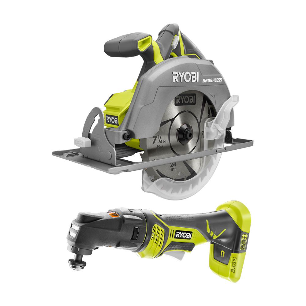 RYOBI 18-Volt ONE+ Cordless Combo Kit with Brushless 7-1/4 in. Circular Saw, JobPlus Base w/Multi-Tool Attachment (Tools Only)