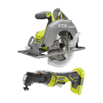18-Volt ONE+ Cordless Combo Kit with Brushless 7-1/4 in. Circular Saw, JobPlus Base w/Multi-Tool Attachment (Tools Only)