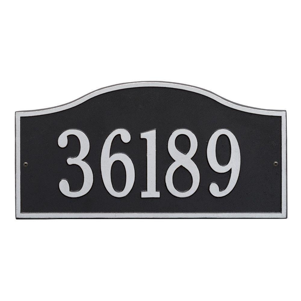 Rolling Hills Rectangular Black/Silver Grande Wall One Line Address Plaque