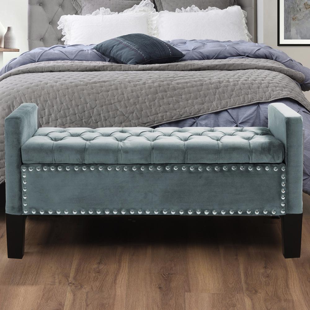 Pleasing Inspired Home Emmaline Slate Blue Velvet Storage Bench Bralicious Painted Fabric Chair Ideas Braliciousco