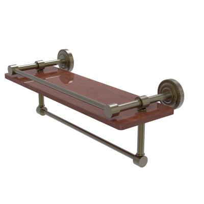 Dottingham Collection 16 in. IPE Ironwood Shelf with Gallery Rail and Towel Bar in Antique Brass