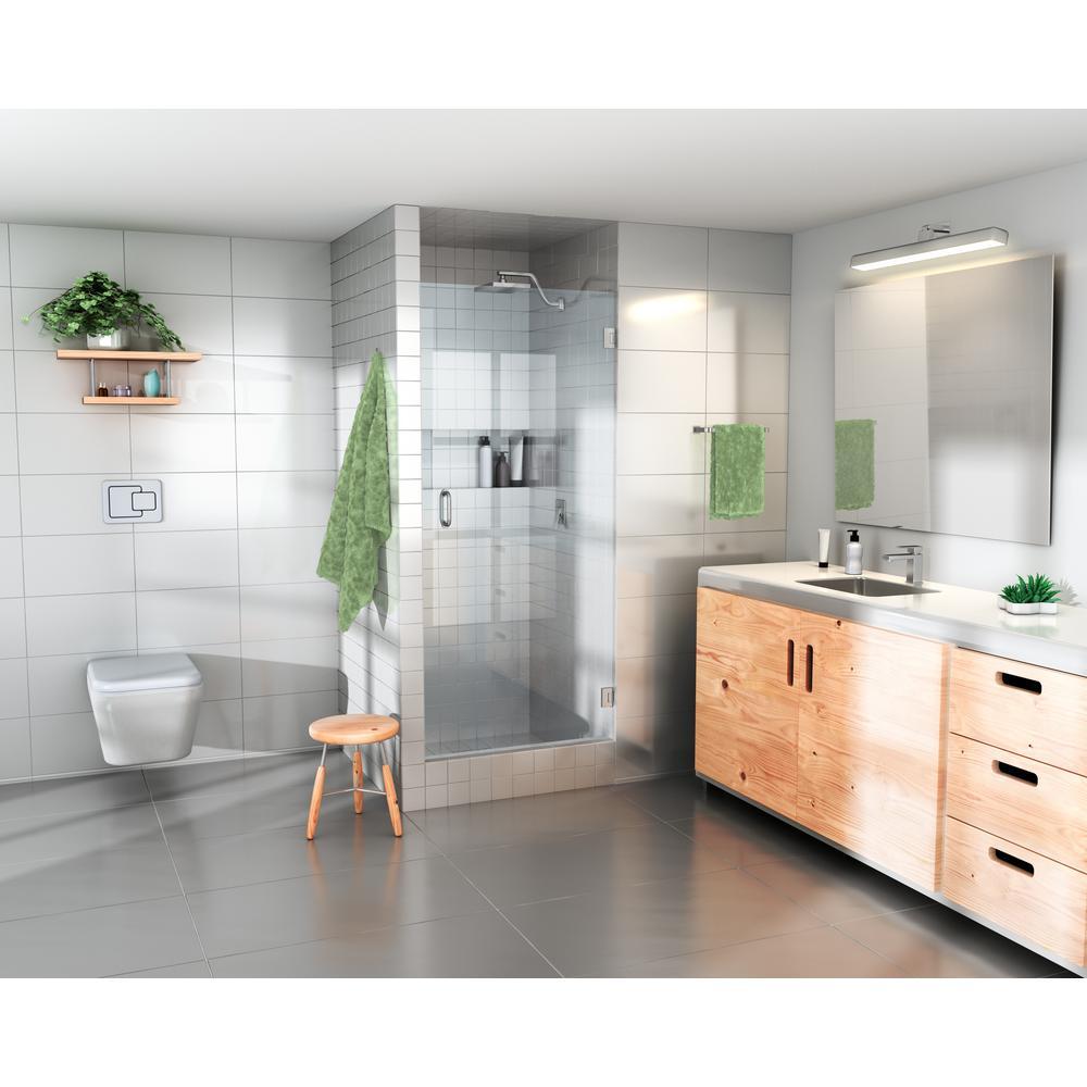 28 in. x 78 in. Frameless Glass Hinged Shower Door in Brushed Nickel Door Only