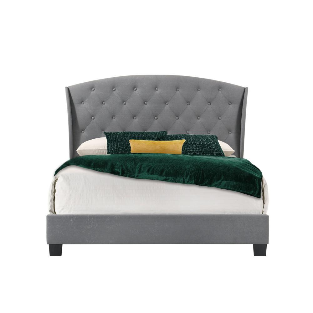 Boca Grande Gray Velvet Queen Upholstered Bed