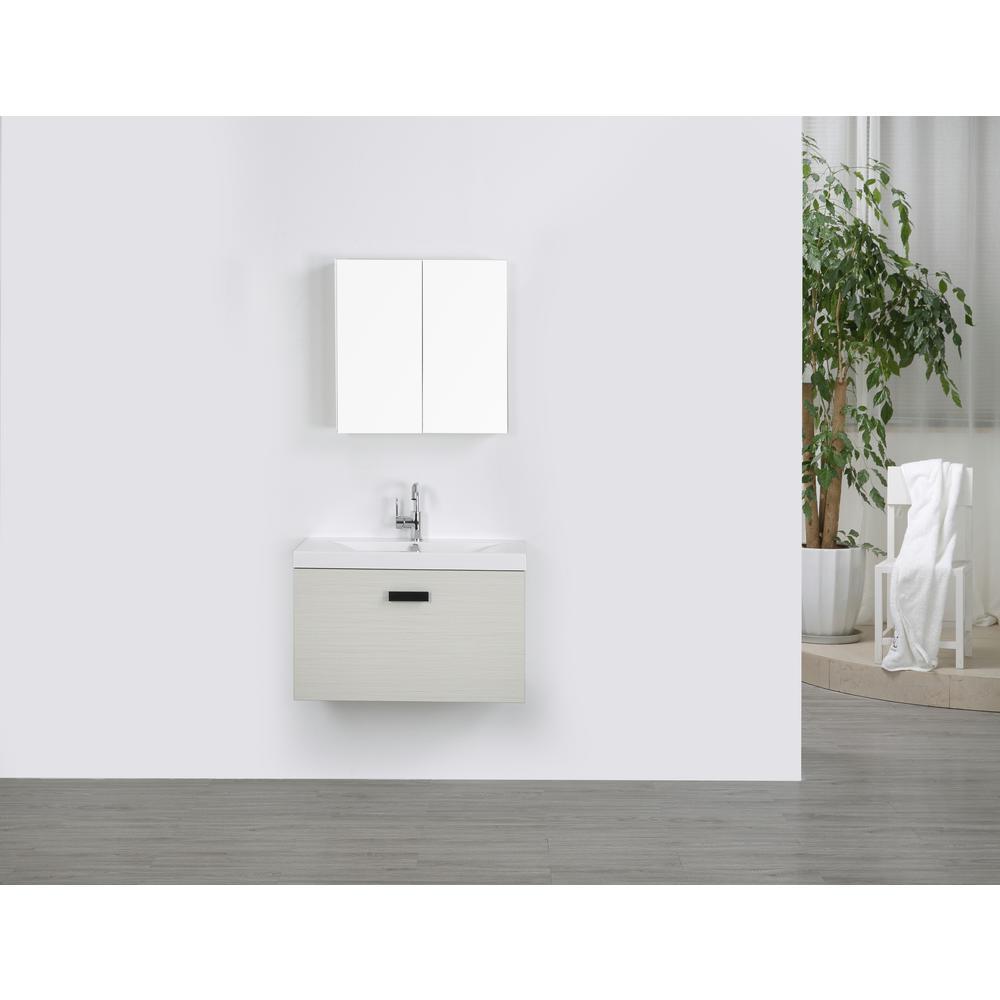 Streamline Vanity Gray Resin Vanity Top White Basin Mirror Product Image