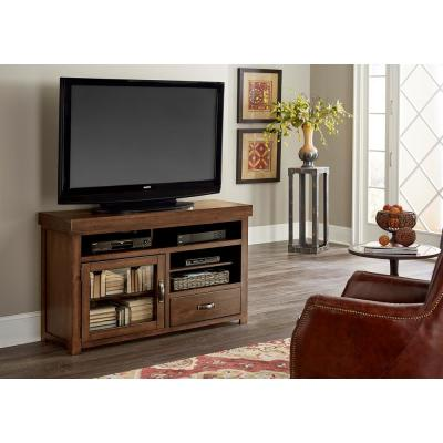 Navaro 54 in. Sienna Pine Wood TV Stand Fits TVs Up to 50 in. with Storage Doors